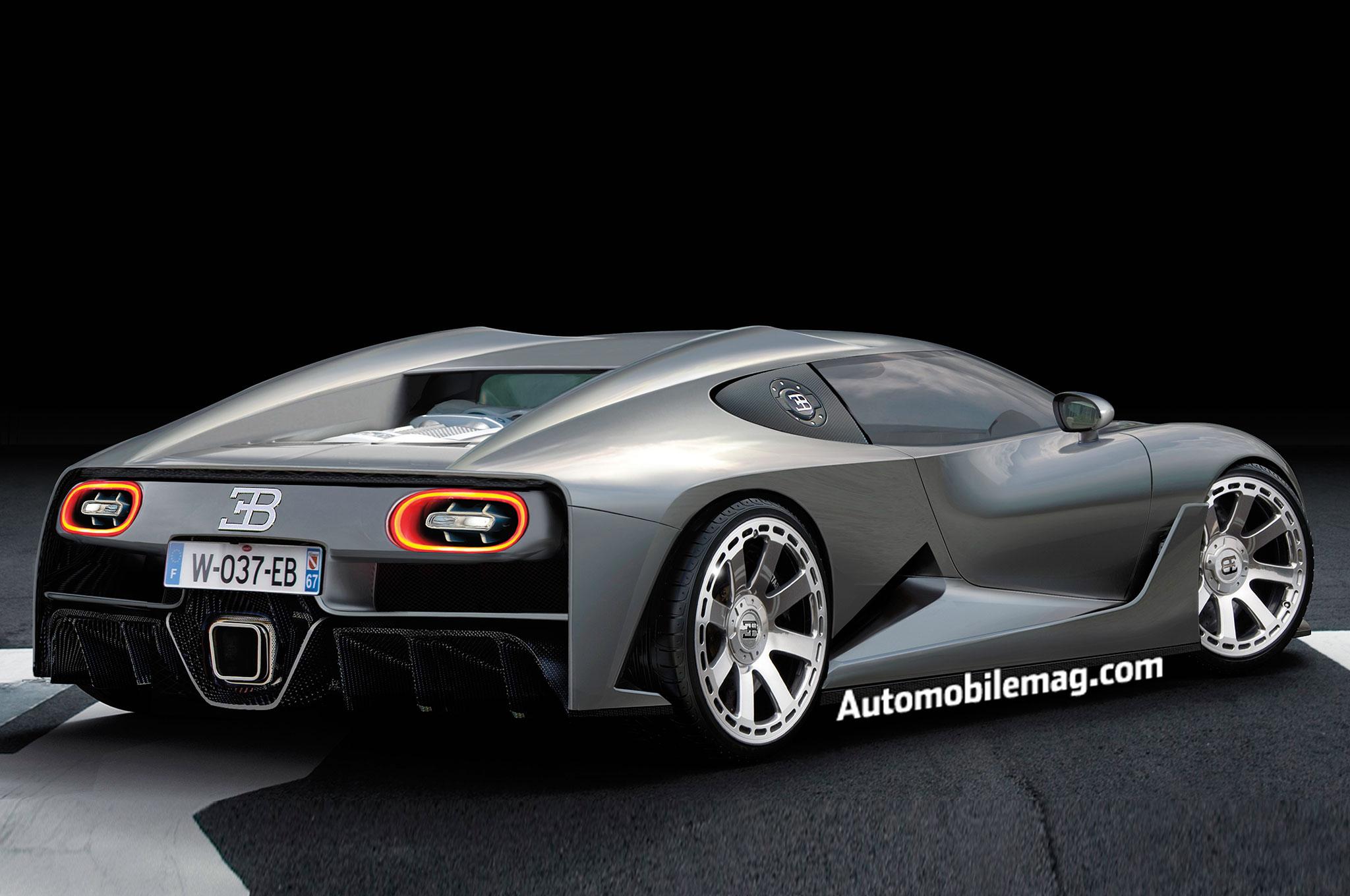 Bugatti Chiron Rendering Rear Three Quarter