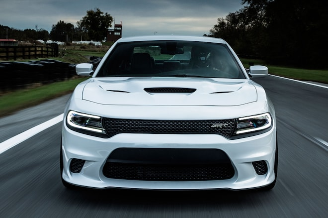 2015 Dodge Charger SRT Hellcat Front View In Motion 4
