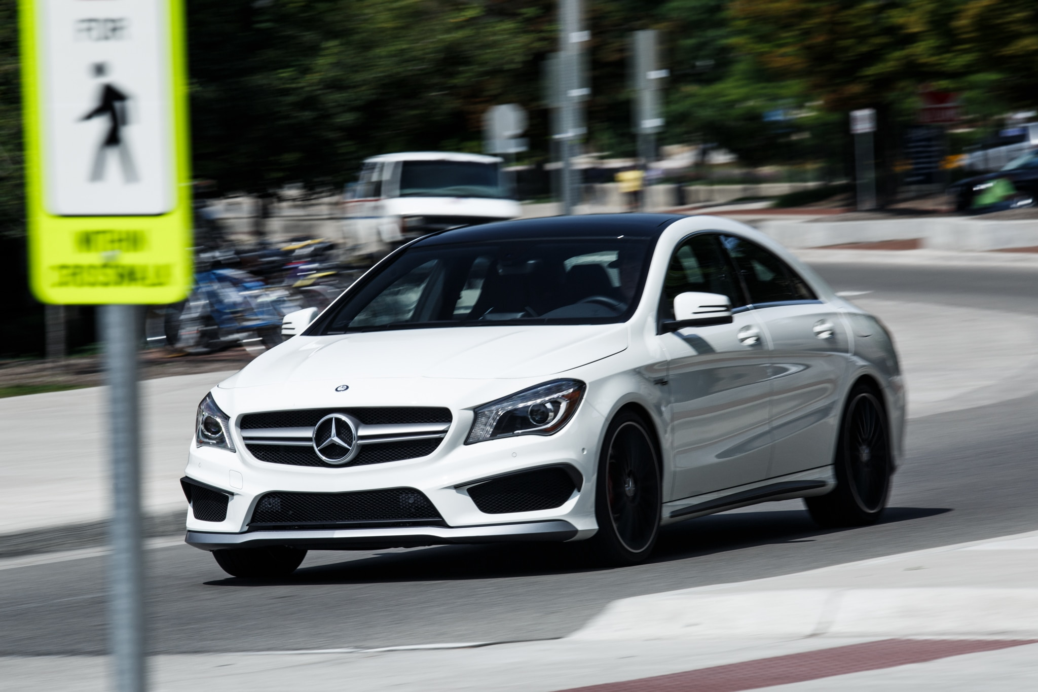 College Cars 15 2014 Mercedes Benz Cla45 Amg Front Three Quarter In Motion