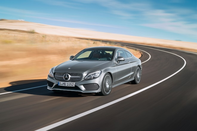 2017 Mercedes Benz C300 Coupe Front Three Quarter In Motion 03