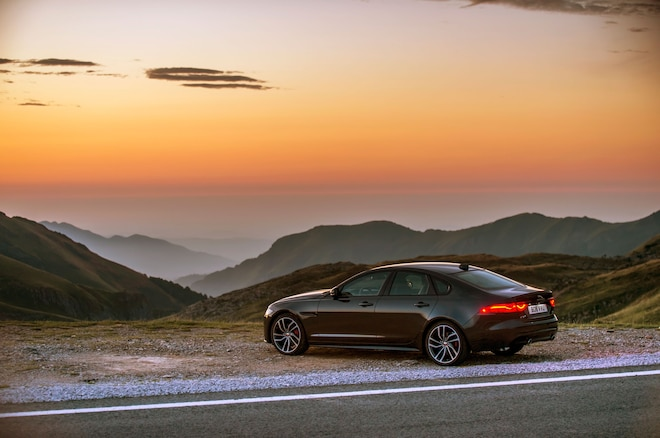 2016 Jaguar Xf S Awd Rear Side View Sunset
