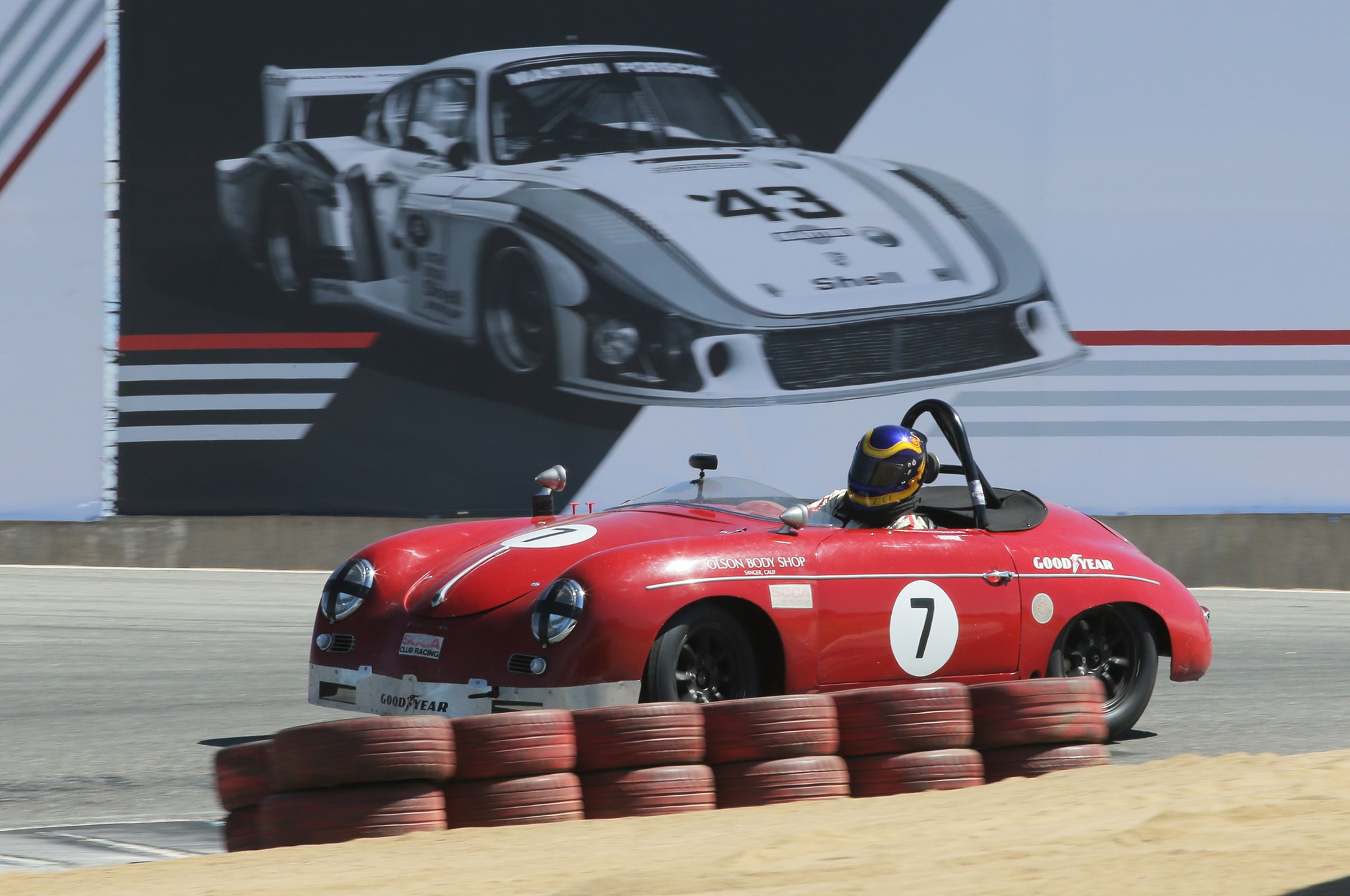 4. Two Porsche classics, a 356 Speedster on the track, the famous 935/78 Moby Dick in the background.