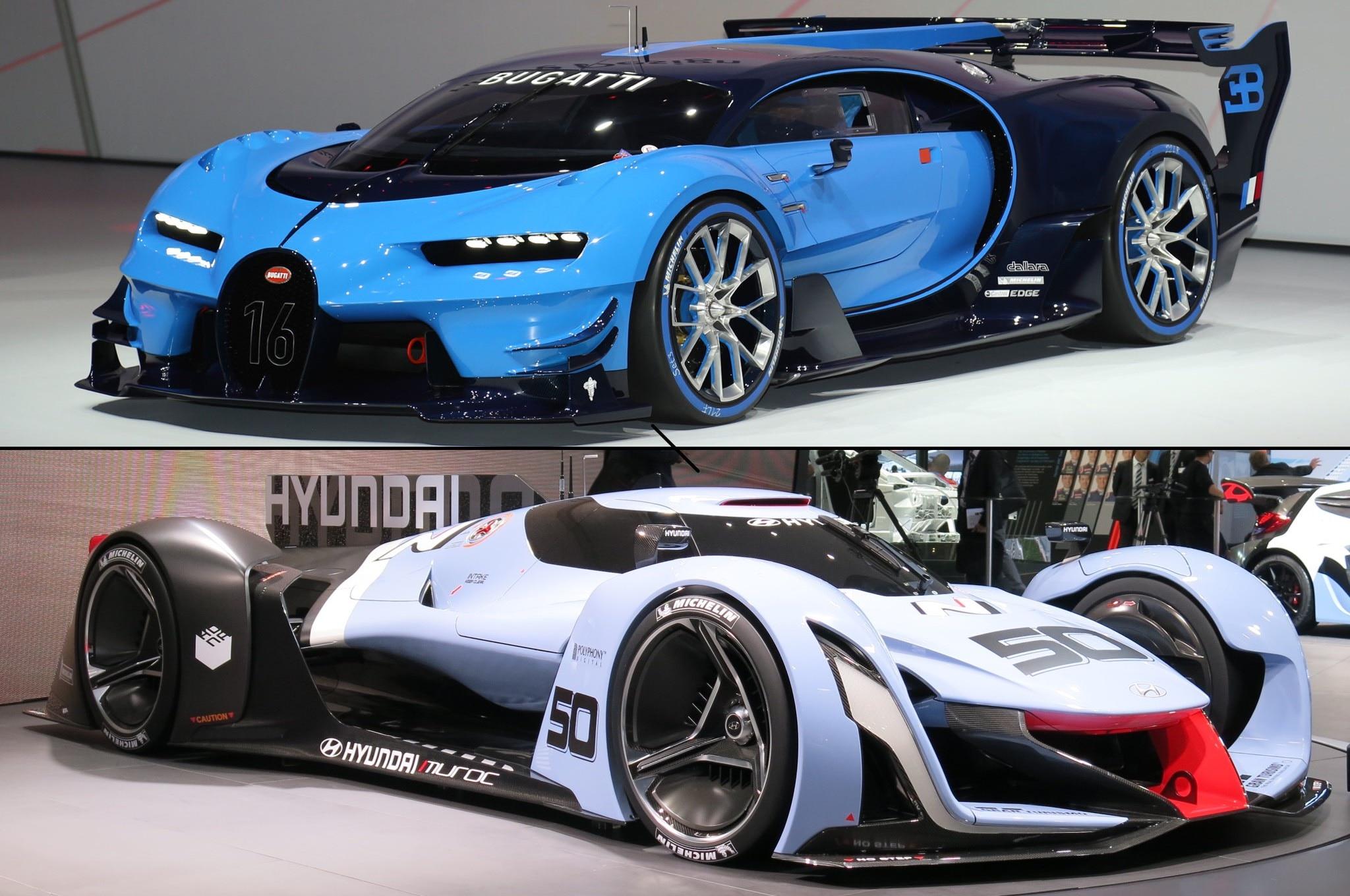 virtual racers compared bugatti hyundai vision gran turismo concepts. Black Bedroom Furniture Sets. Home Design Ideas