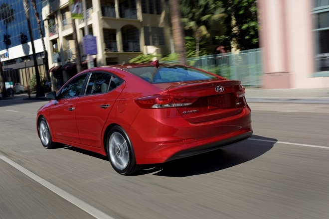 2017 Hyundai Elantra rear three quarter in motion1
