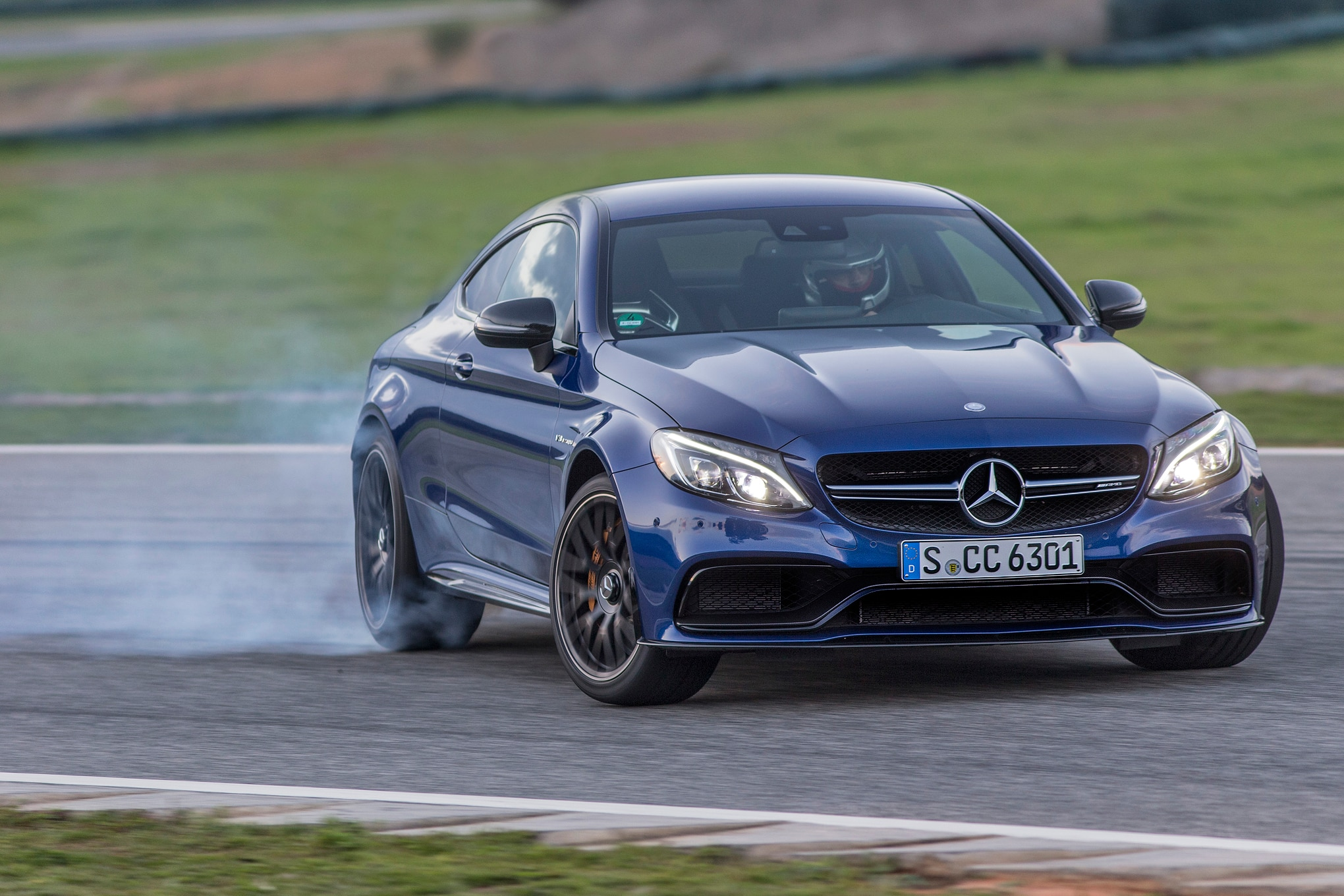 2017 Mercedes AMG C63 S Coupe Front There Quarter Drift