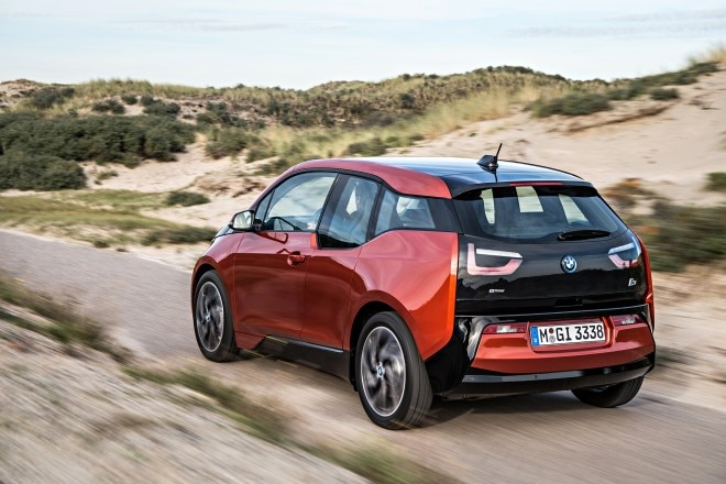 2014 BMW i3 eDrive rear three quarters above in motion