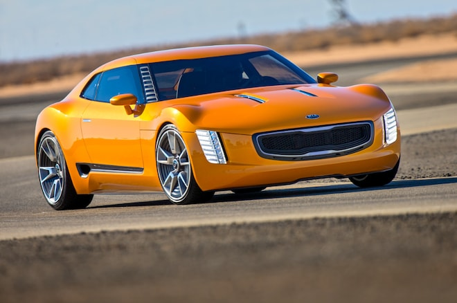 Kia Gt4 Stinger Concept Front Three Quarter In Motion 021