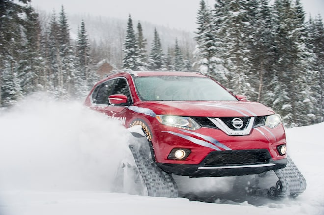 Nissan Rogue Warrior Tackles Ski Slopes With Snowmobile Tracks