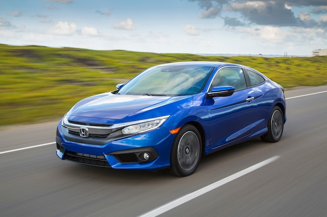 2016 Honda Civic Touring Coupe Front Three Quarter In Motion 07