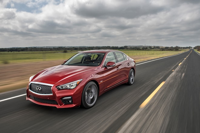 2016 Infiniti Q50 Red Sport 400 Front Three Quarter In Motion 03