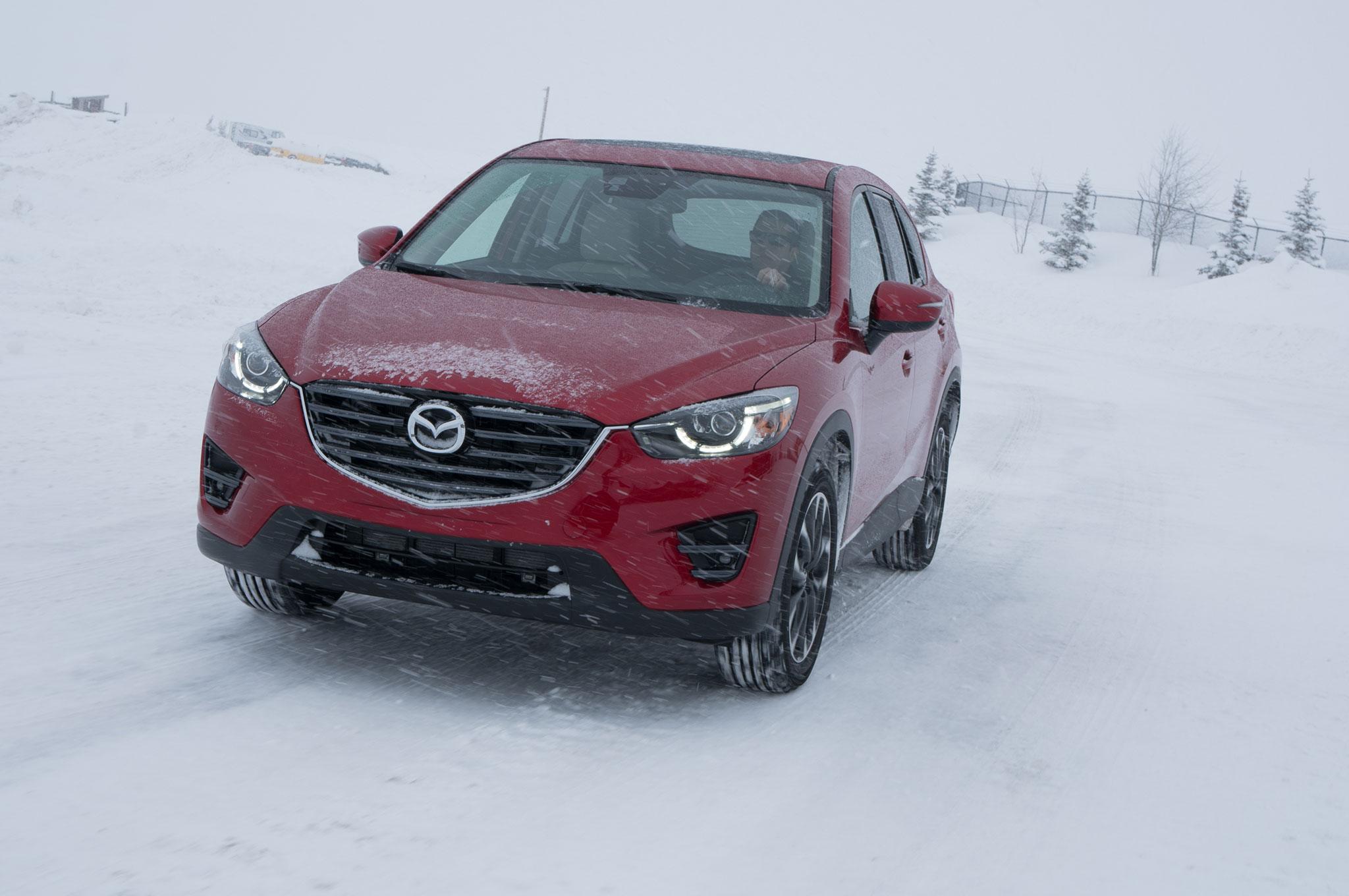 driving the mazda cx-3, cx-5, and mx-5 miata on snow and ice
