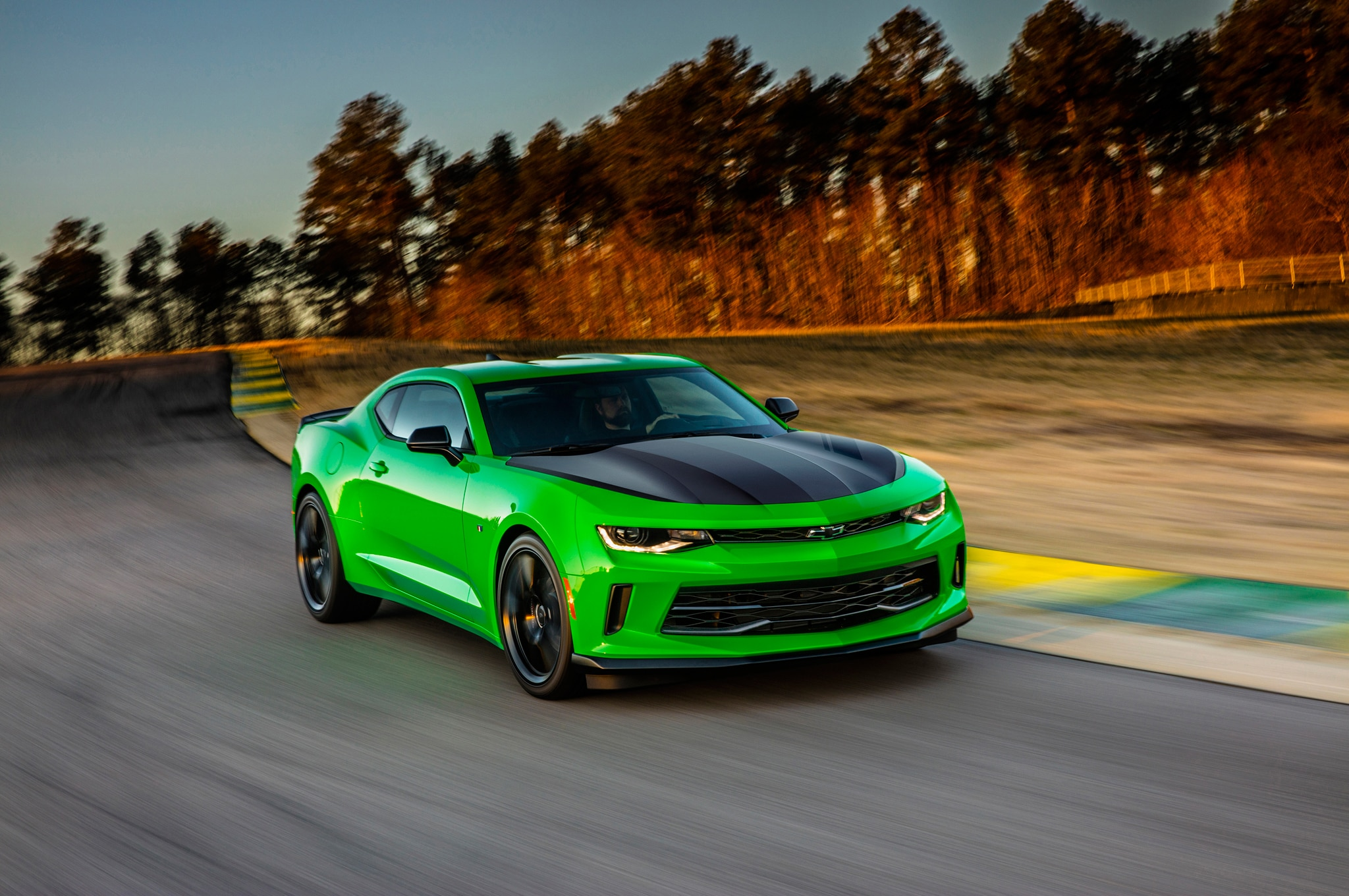 2017 Chevrolet Camaro 1LE front three quarter in motion 02