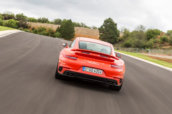 2017 Porsche 911 Turbo S rear end in motion 02
