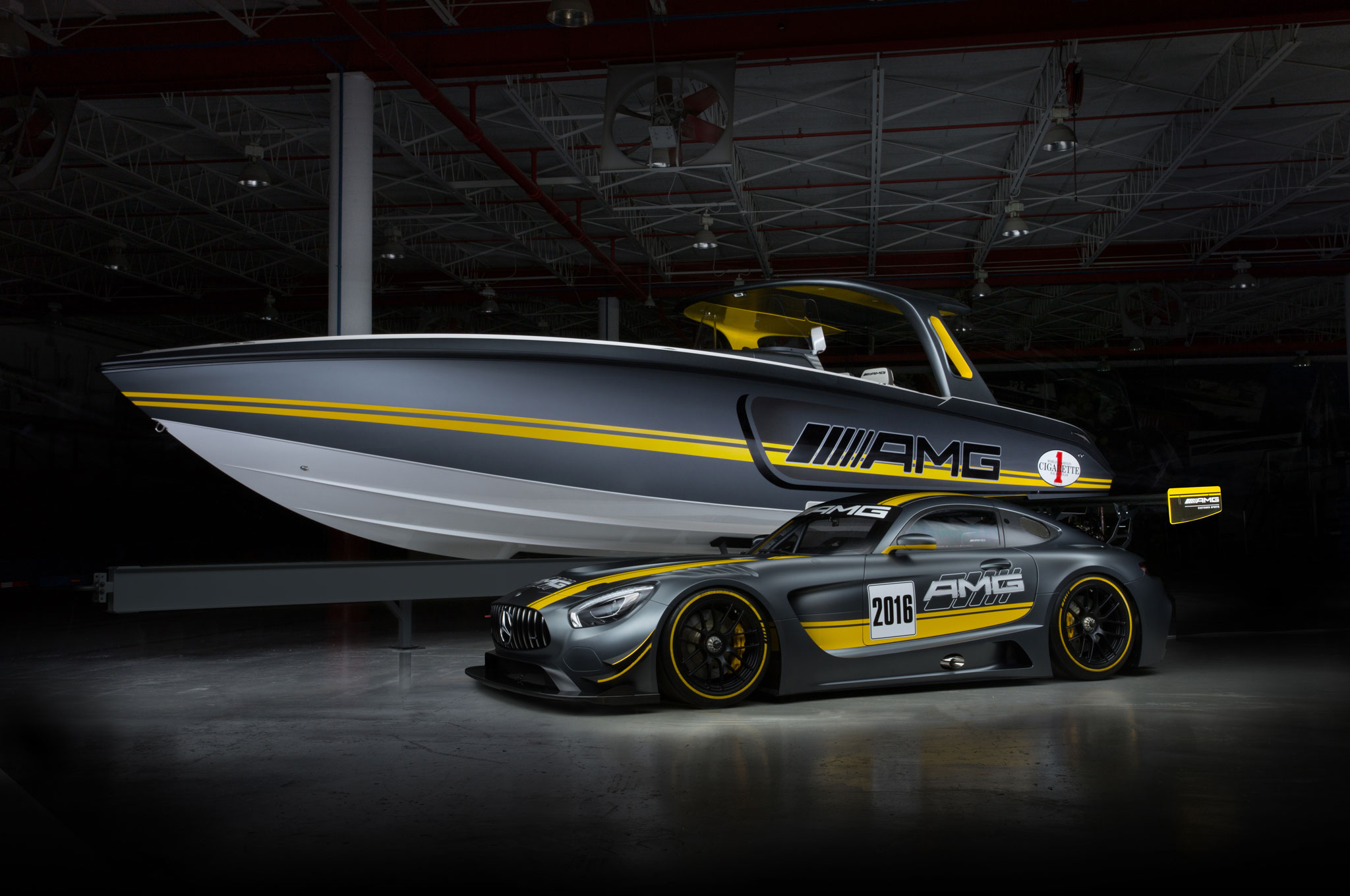 Cigarette Racing Team 41 Foot SD GT3 Boat And Mercedes AMG GT3 Racecar