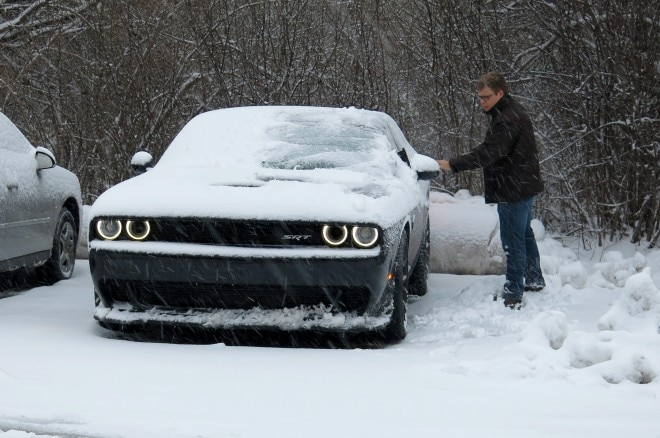 2015 Dodge Challenger Hellcat snow clearing