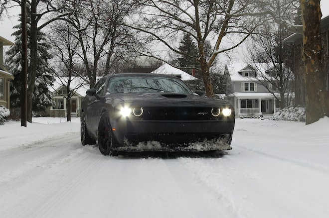 2015 Dodge Challenger Hellcat Snow Front Three Quarter1