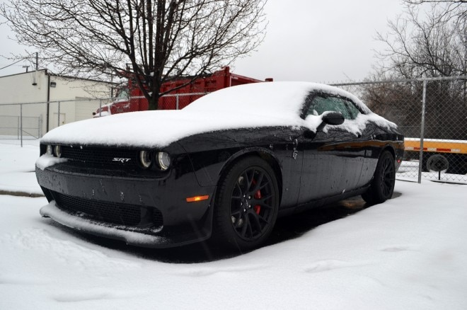 2015 Dodge Challenger Hellcat snow front three quarter3