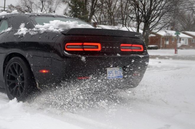 2015 Dodge Challenger Hellcat snow spinning tire