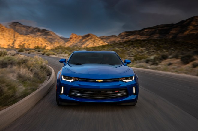 2016 Chevrolet Camaro RS 20L Turbo coupe front end in motion