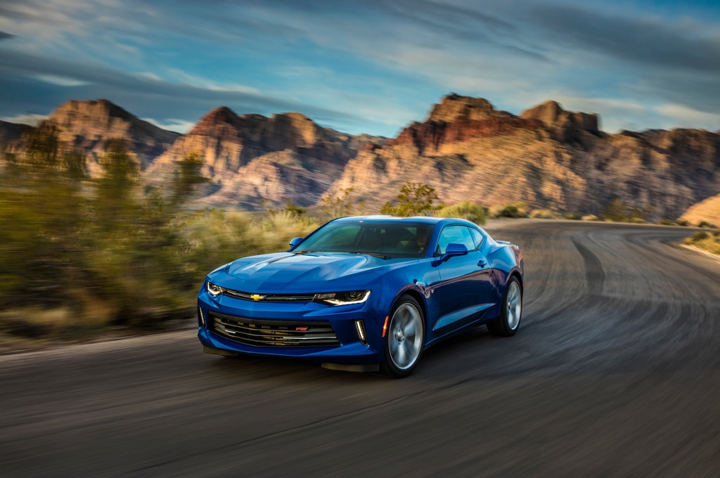 2016 Chevrolet Camaro RS 20L Turbo Coupe Front Three Quarter In Motion 03