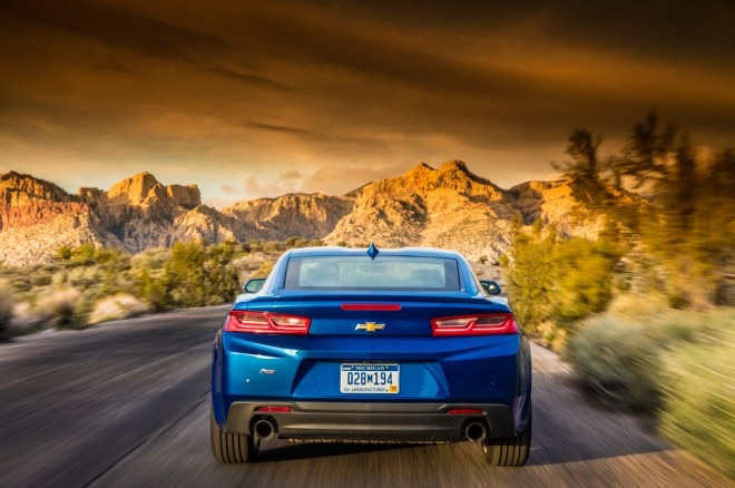 2016 Chevrolet Camaro RS 20L Turbo coupe rear end in motion