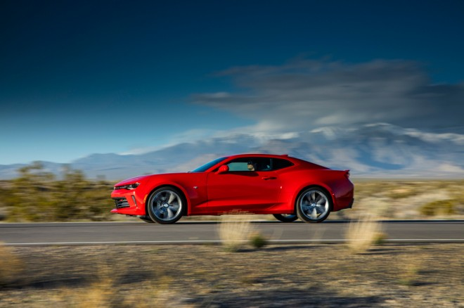 2016 Chevrolet Camaro RS 20L Turbo coupe side in motion