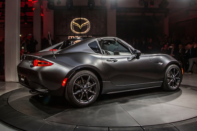 2017 Mazda MX 5 Miata RF On Stage Side Rear View Lights On