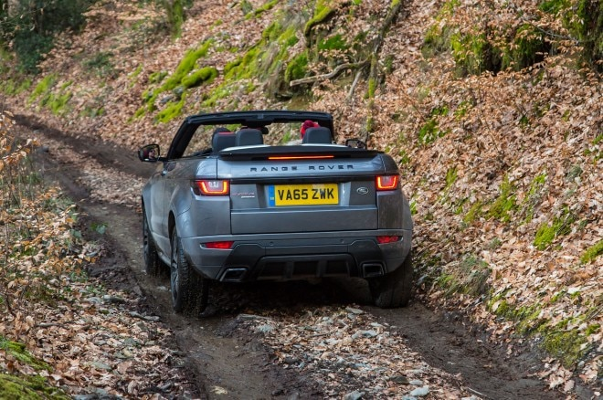 2017 Range Rover Evoque Convertible rear three quarter off road