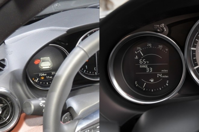Left: Miata RF instruments. Right: Standard 2016 Miata instruments.