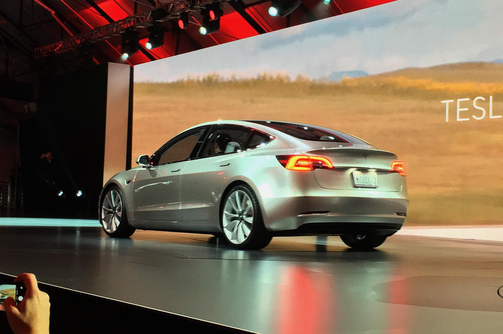 Tesla Model 3 Electric Sedan Revealed