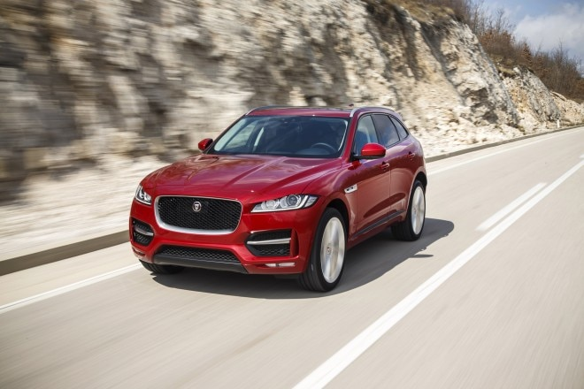 2017 Jaguar F Pace First Edition front three quarter in motion 05 2