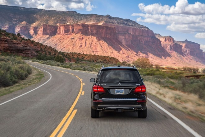 2017 Mercedes Benz GLS450 4Matic rear view in motion 02