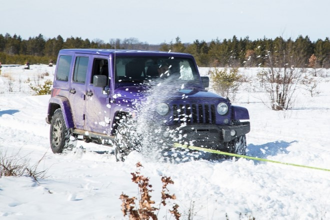 Jeep Wrangler Backcountry towed in snow 03
