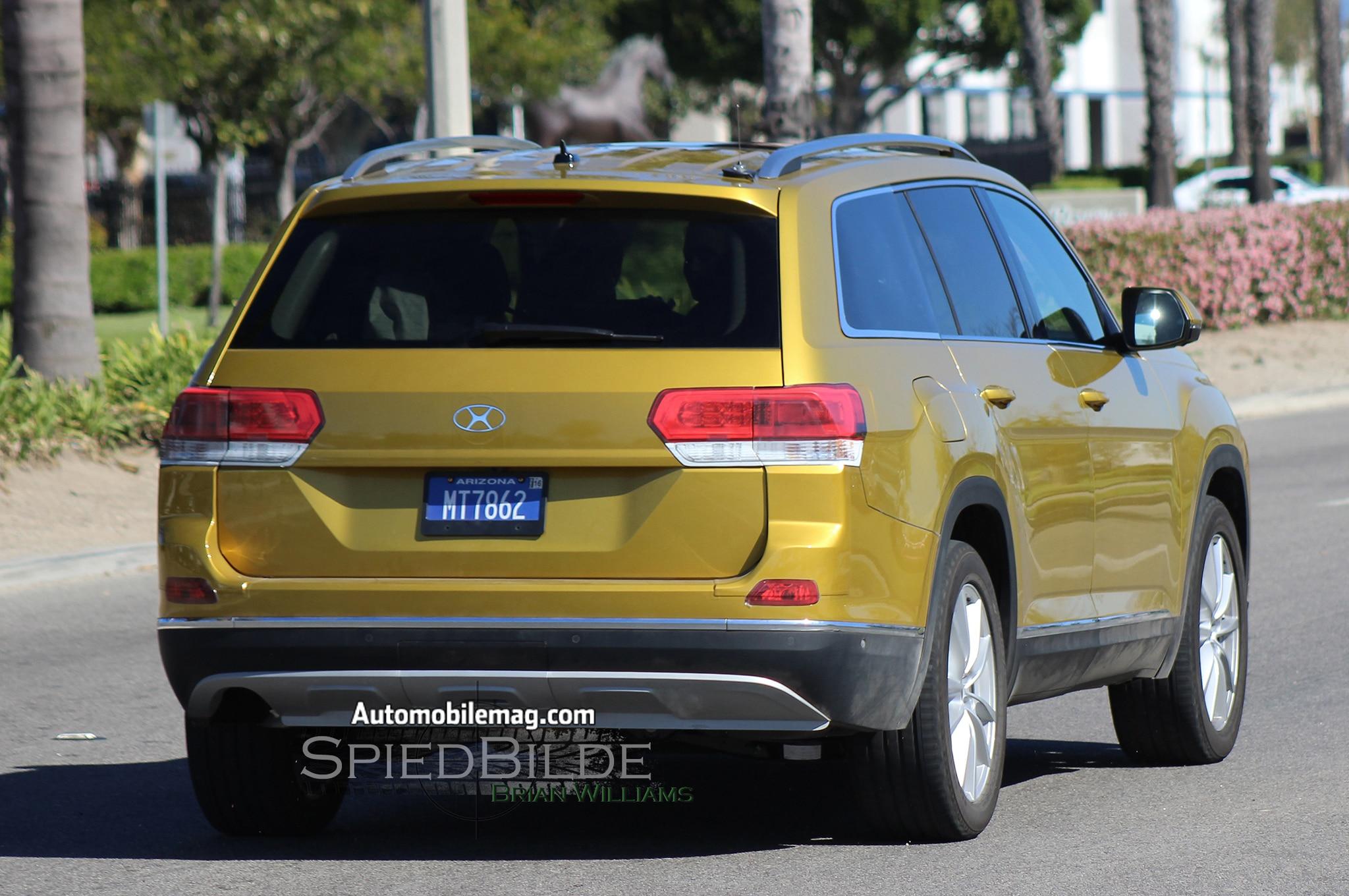 Volkswagen Three Row Crossover prototype rear three quarter in motion 03