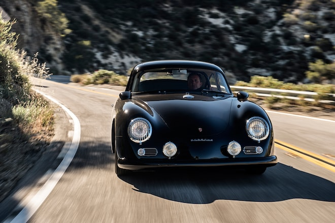 1958 Porsche 356 Emory Special Coupe Front View In Motion 01