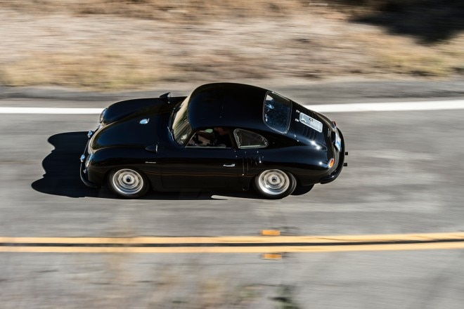 1958 Porsche 356 Emory Special Coupe side profile in motion