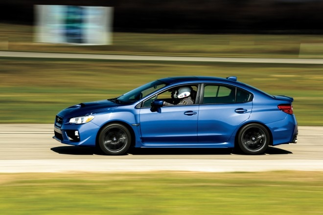 2015 Subaru WRX Limited side profile in motion