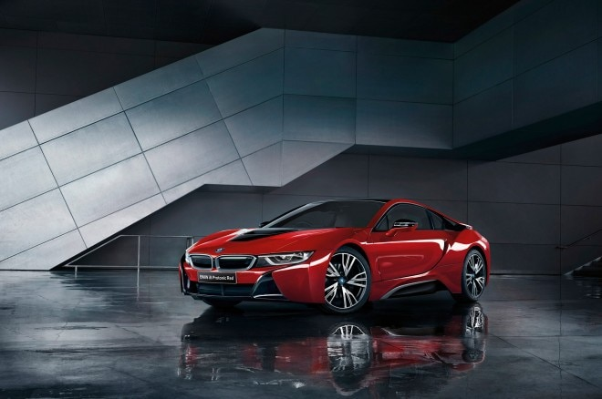 2016 BMW i8 Protonic Red Edition front three quarters
