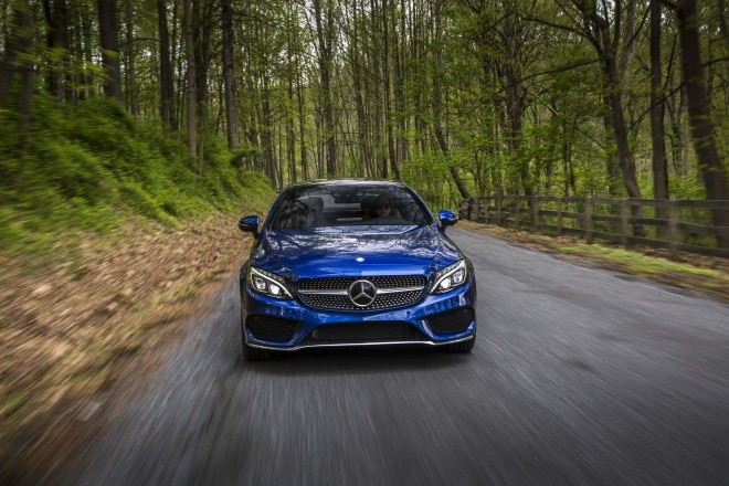 2017 Mercedes Benz C300 coupe front end in motion 04