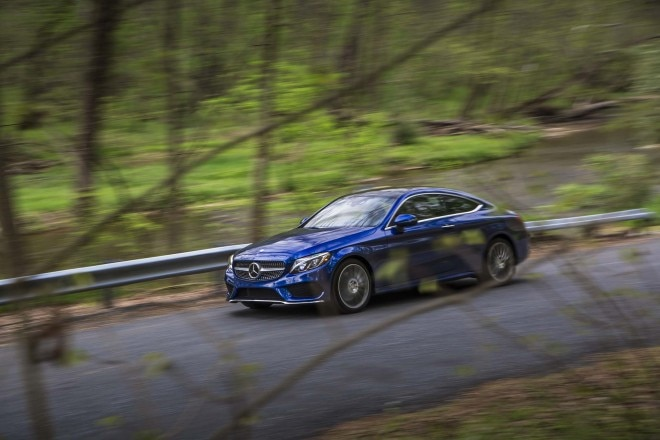 2017 Mercedes Benz C300 coupe front three quarter in motion 06
