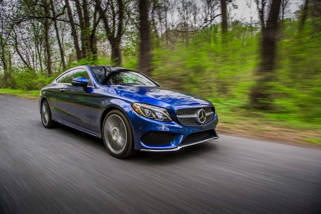 2017 Mercedes Benz C300 Coupe Front Three Quarter In Motion 07