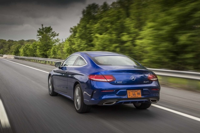 2017 Mercedes Benz C300 coupe rear three quarter in motion