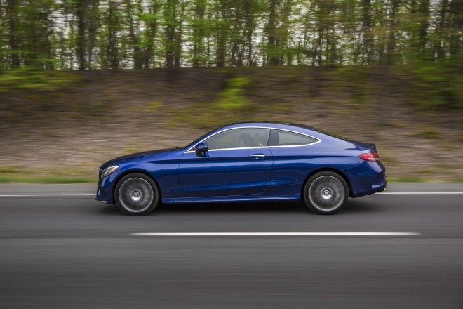 2017 Mercedes Benz C300 coupe side in motion