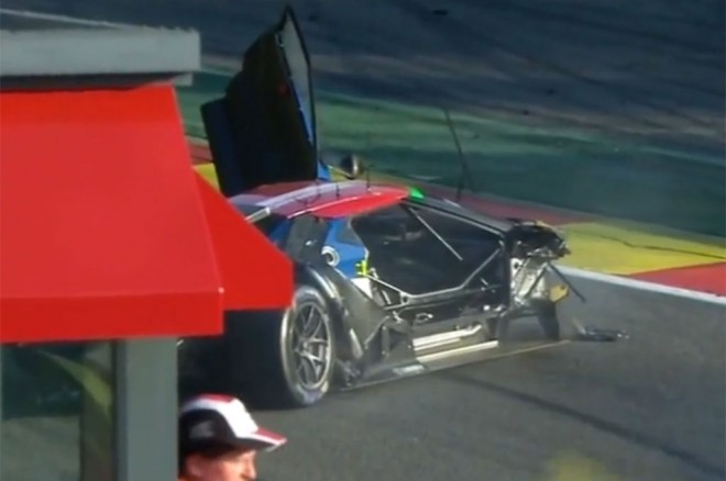Ford GT race car crash at Spa