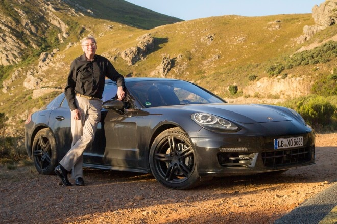 Porsche Panamera prototype front three quarter with Georg Kacher 02