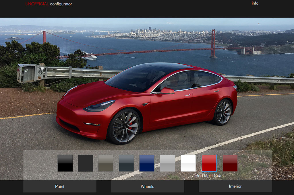 tesla model 3 configurator lets you see car in different colors. Black Bedroom Furniture Sets. Home Design Ideas