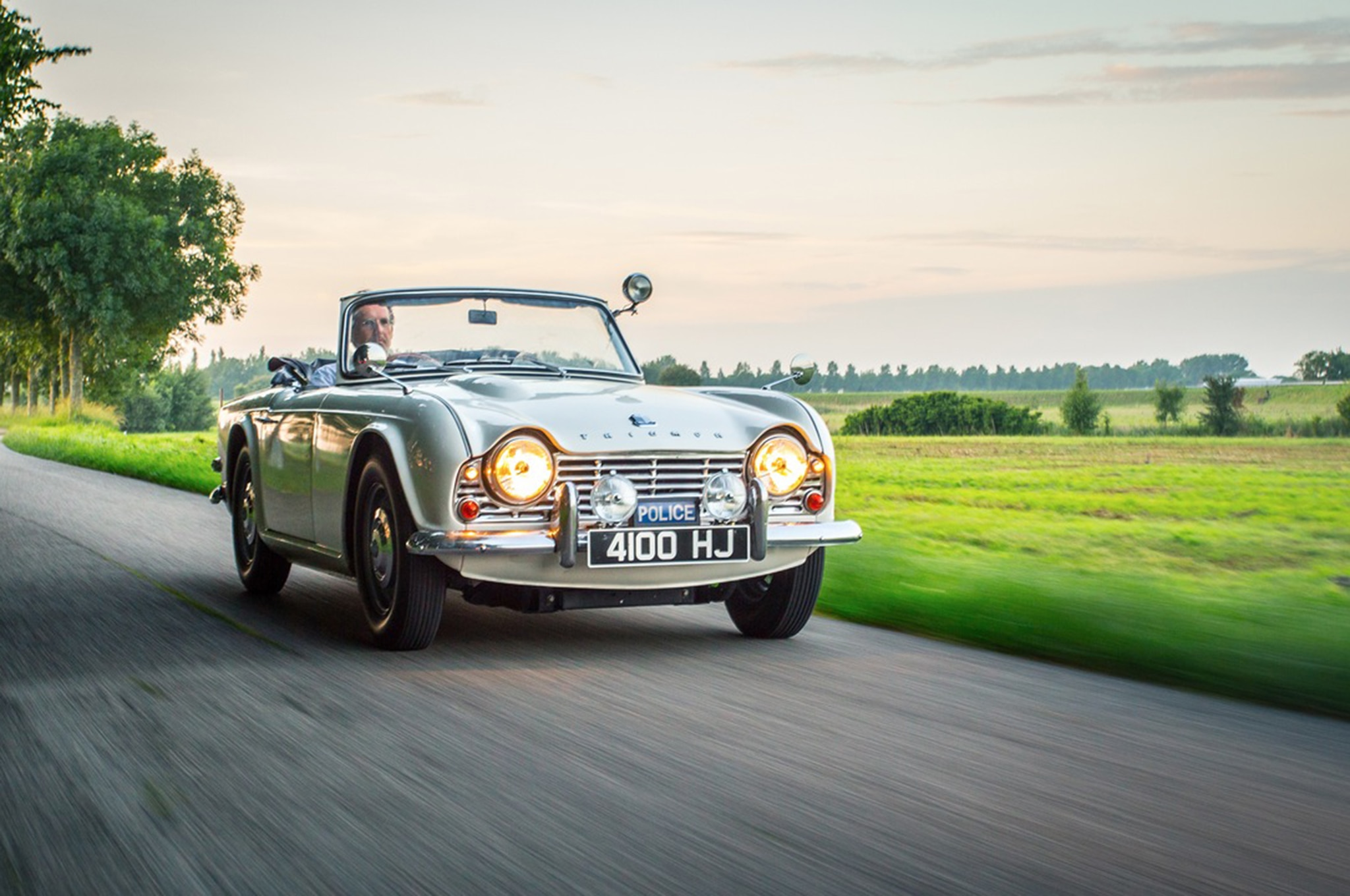 1962 Triumph TR4 Police Car Front In Motion