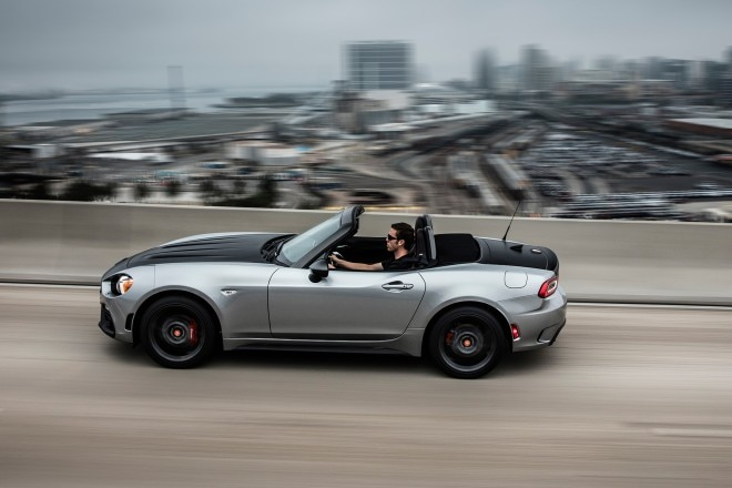2017 Fiat 124 Spider Abarth side profile in motion 02