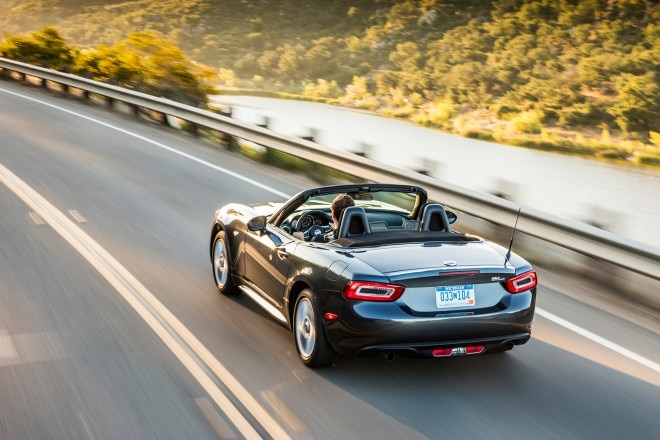 2017 Fiat 124 Spider Classica rear three quarter in motion
