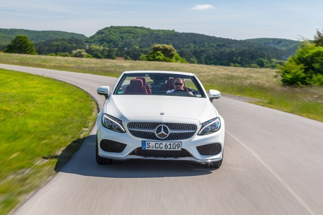 2017 Mercedes Benz C300 Cabriolet front view in motion 02